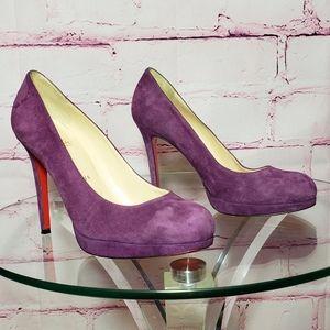 Christian Louboutin Purple Suede Platform Heels